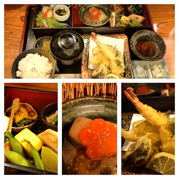 J'ai trouvé un autre petit resto sympa pour midi : Tempura Set à 1000¥ et avec le café en plus :)