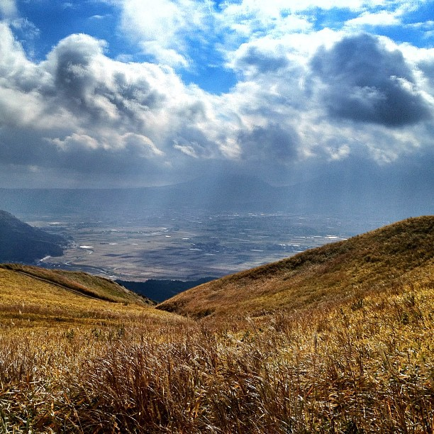 Vue sur la Caldeira du Mont Aso