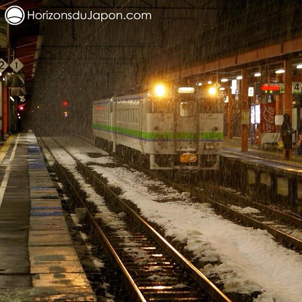 Températures glaciales sur les quais de la gare de Asahikawa
