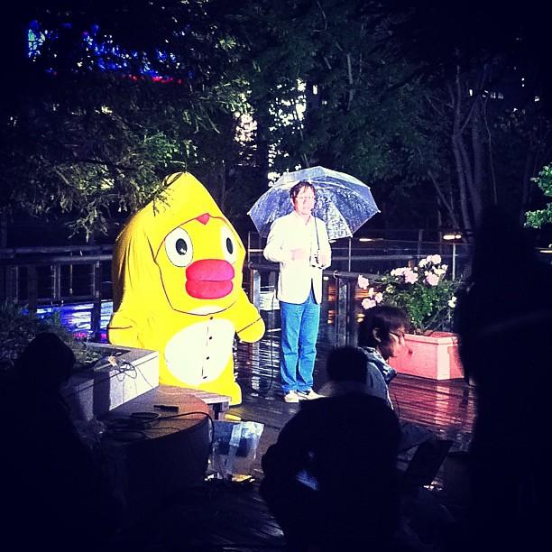 Point météo #japon : le gros poussin jaune dit qu'il pleut !
