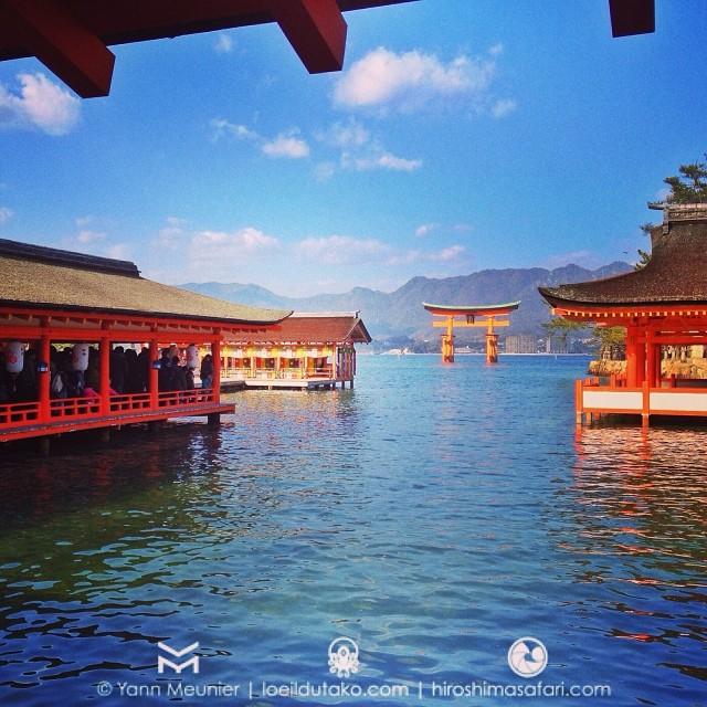 1re prière de l'année avec les 1ers safaristes de l'année dans un petit sanctuaire flottant à Hiroshima :D