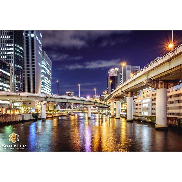 Des ponts et une rivière, le tout à la sauce nocturne et l'affaire est dans le sac #japon #osaka