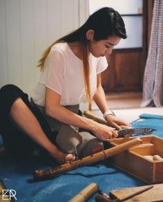 Fabrication d'un «Raikan», une version plus grande du «Shakuhachi», le flûte traditionnelle japonaise en bambou.