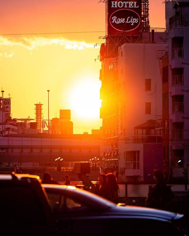 Le soleil s'en va vers l'ouest. Il quitte la scène, mais non sans tirer une belle révérence au public de Dotonbori :) #japonsafari #japonsafari #dotonbori #osaka #discoverosaka