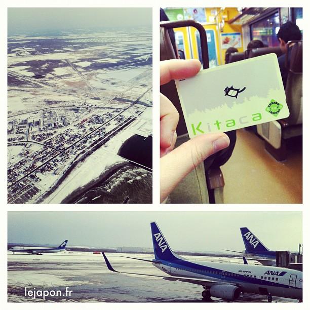Bien arrivé à l'aéroport de Chitose, en direction de Sapporo sous un ciel bleu avec ma Kitaca ;-)