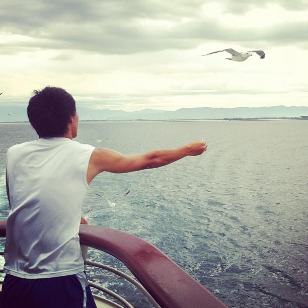On s'occupe comme on peut sur le ferry en direction de l'île Sado