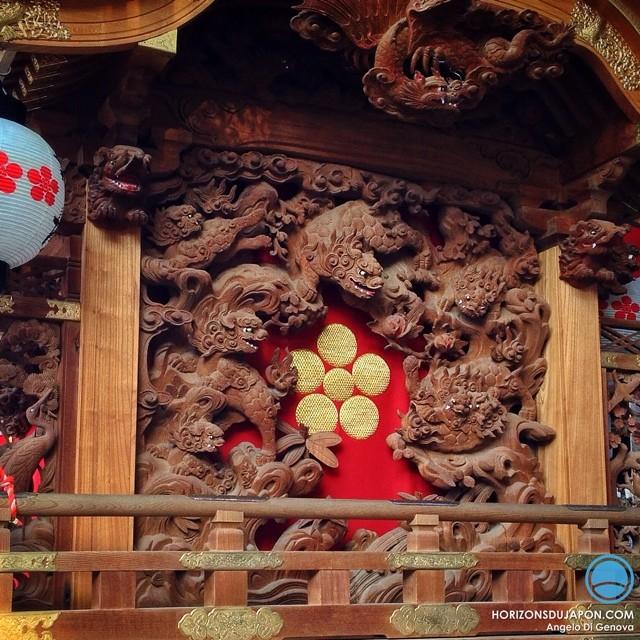 Sculpture sur bois pour les chars de la Tenjin Matsuri à Osaka