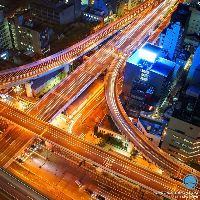 Vue sur les autoroutes aériennes d'Osaka